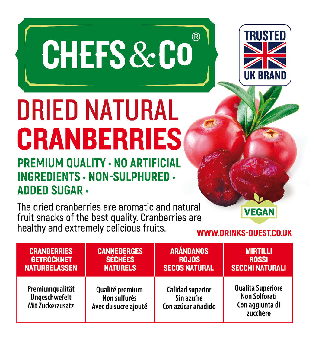 CHEFS & CO DRIED CRANBERRIES (Added sugar) - 750g