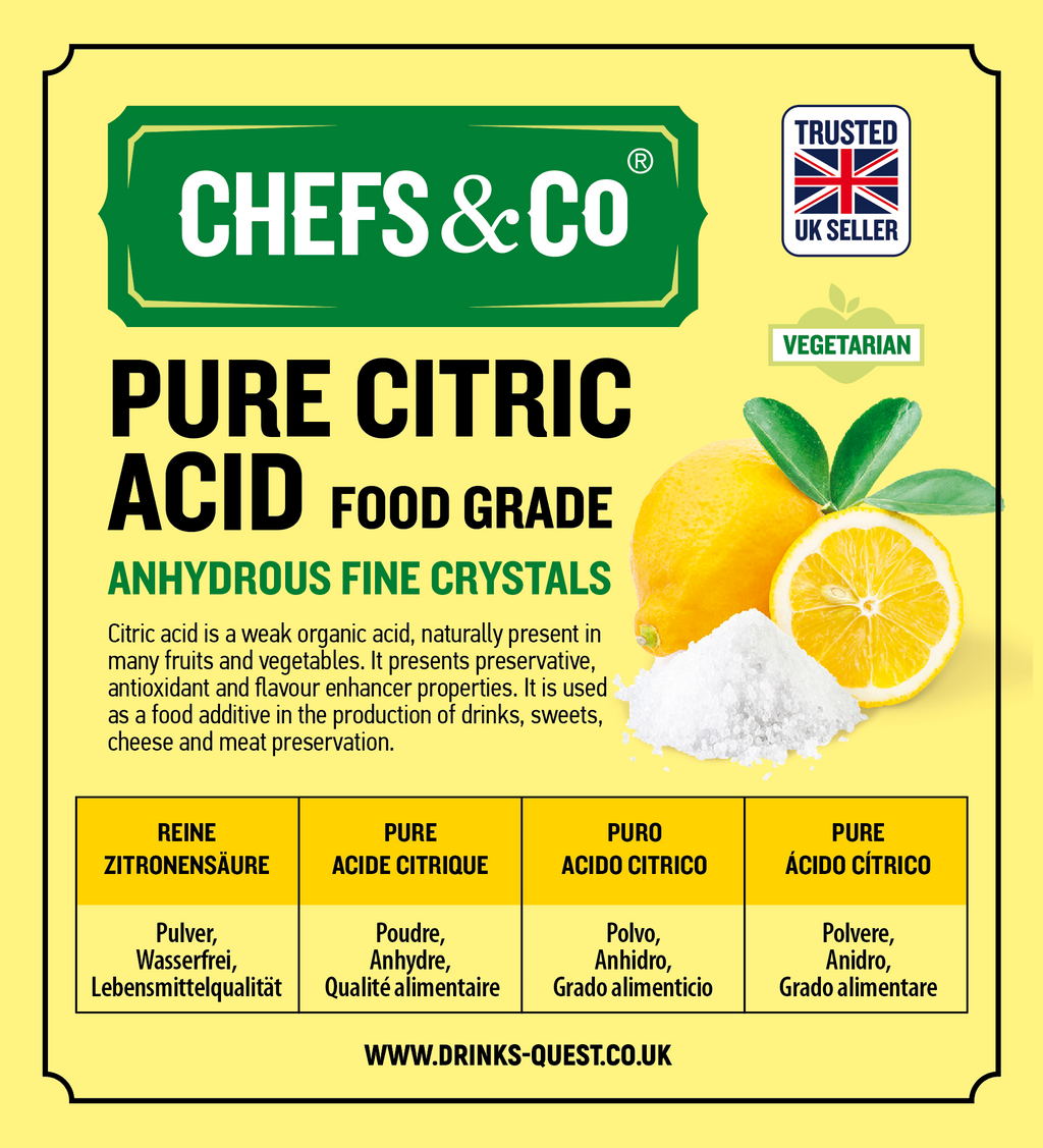 CHEFS & CO Pure Citric Acid -1kg | Powder | Anhydrous | 100% Pure Food Grade Fine Crystals | GMO-Free | Premium Quality | Vegan | Gluten-Free