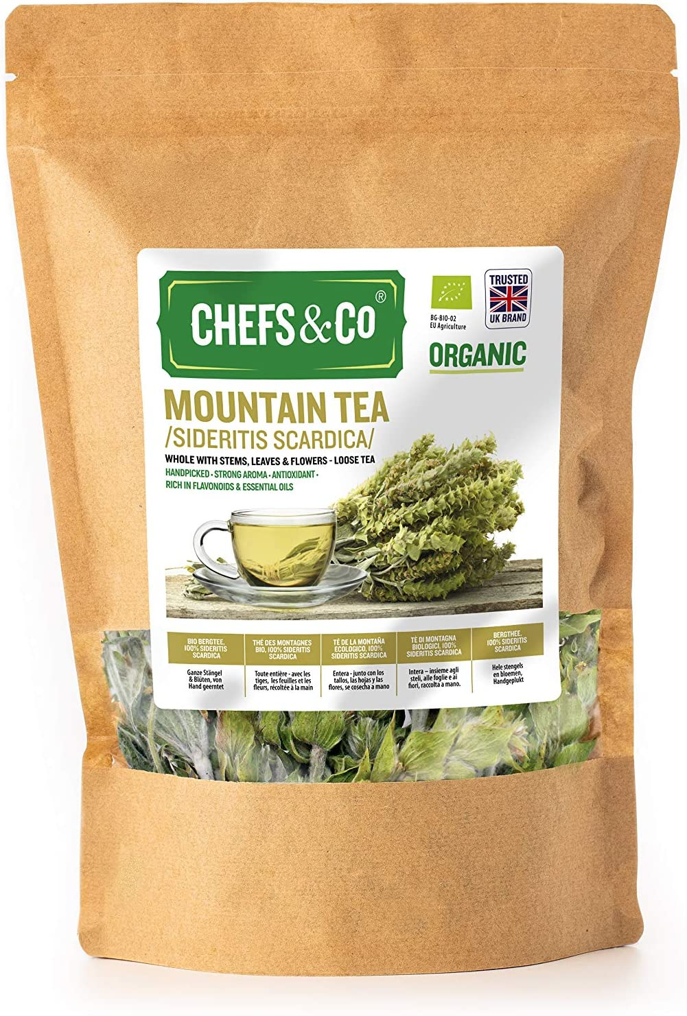 CHEFS&CO Organic Mountain Tea (Sideritis scardica) | Whole with Stems, Leaves & Flowers - Loose Tea - 80 gr