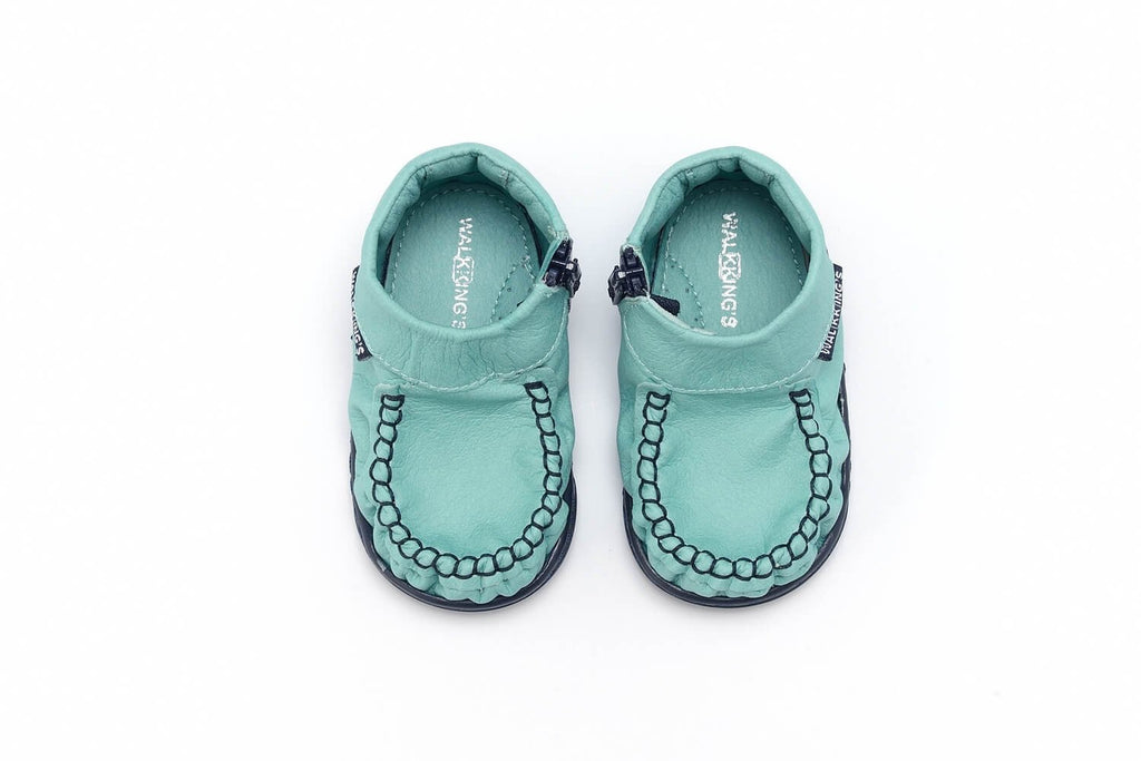 Walkking's Unisex Babies' Zip Around Walking Baby Shoes Turquoise (Azulinho)