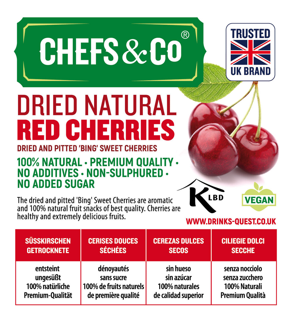 CHEFS & CO Dried&Pitted Natural Sweet Red Cherries 'BING'-750g |Non-sulphured|No added sugar|Kosher Certified