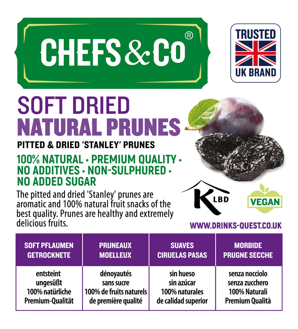 CHEFS & CO Pitted Soft Dried Natural Prunes-750g|Non-sulphured|No added sugar|Kosher Certified