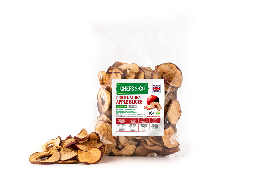 CHEFS & CO Natural Dried Apple Slices 250g | Crunchy|Non-sulphured|No added sugar|Kosher Certified