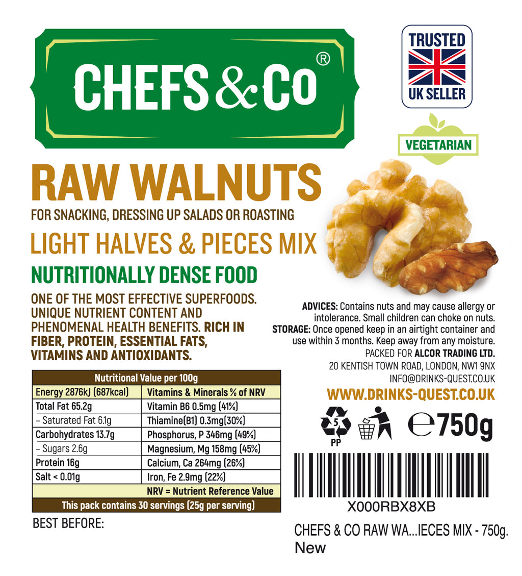 CHEFS & CO RAW WALNUTS - LIGHT HALVES AND PIECES MIX - 750g.