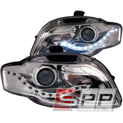 ANZO 2006-2008 Audi A4 Projector Headlights Chrome (R8 LED Style)