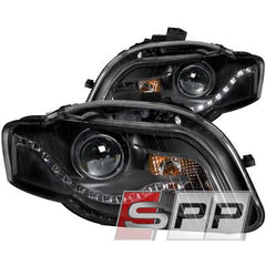 ANZO 2006-2008 Audi A4 Projector Headlights Black (R8 LED Style)