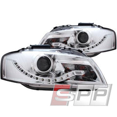 ANZO 2006-2008 Audi A3 Projector Headlights Chrome (R8 LED Style)
