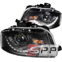 ANZO 2006-2008 Audi A3 Projector Headlights Black (R8 LED Style)