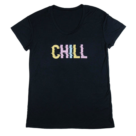 CHILL SCOOP NECK TEE - BLACK - Sunshine State® Goods