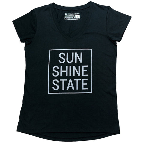 SUNSHINE STATE® V-NECK TEE - BLACK - Sunshine State® Goods