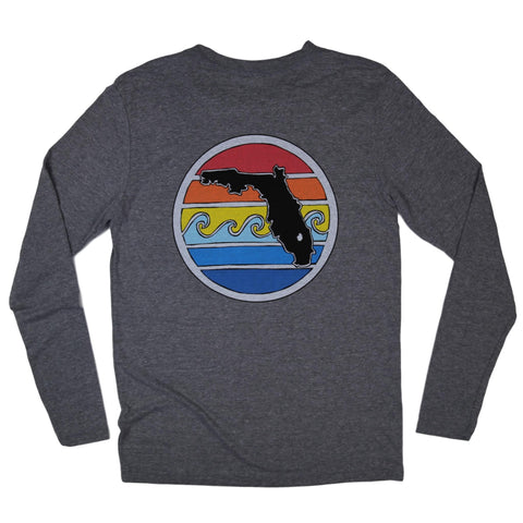 FLORIDA SUNSET LONG SLEEVE TEE - HEATHER GREY