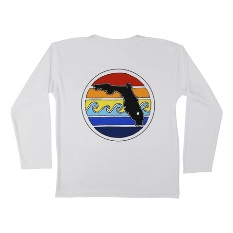FLORIDA SUNSET YOUTH SOLAR SHIRT - WHITE - Sunshine State® Goods