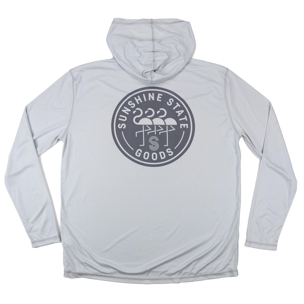 FLAMINGO BADGE UNISEX SOLAR HOODIE - LIGHT GREY - Sunshine State® Goods