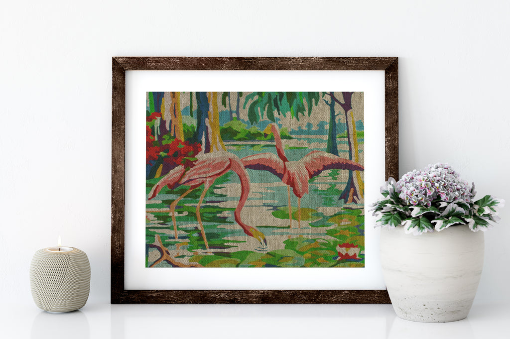 TWO FLAMINGOS - 8x10 LINEN PRINT - Sunshine State®