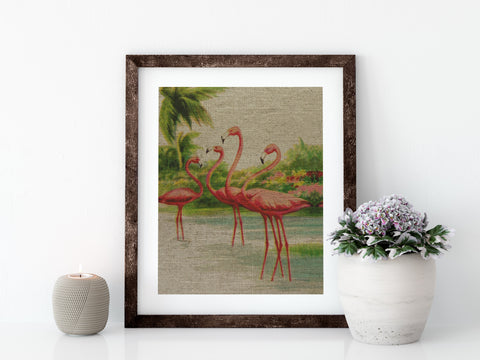 FLAMINGO PARTY - 8x10 LINEN PRINT - Sunshine State® Goods