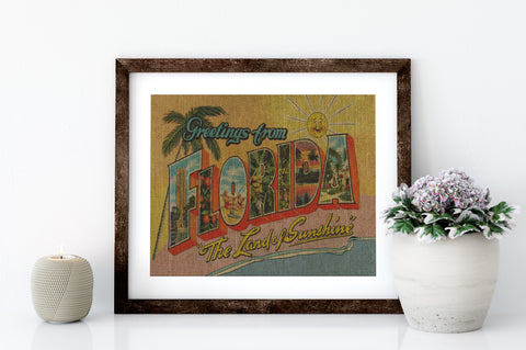 FLORIDA, THE LAND OF SUNSHINE - 8x10 LINEN PRINT - Sunshine State® Goods