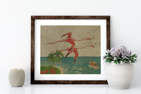 FLAMINGOS IN FLIGHT - 8x10 LINEN PRINT - Sunshine State® Goods