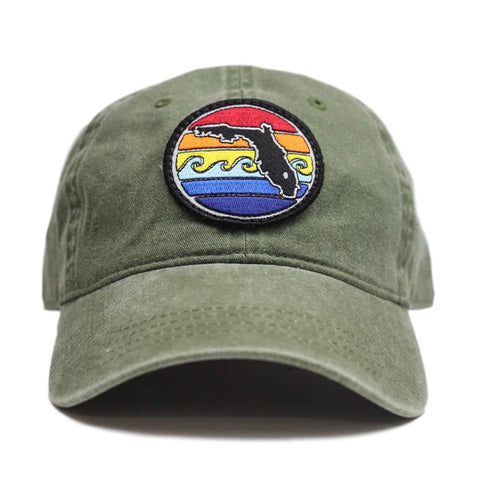 FL SUNSET UNSTRUCTURED HAT - ARMY GREEN - Sunshine State® Goods
