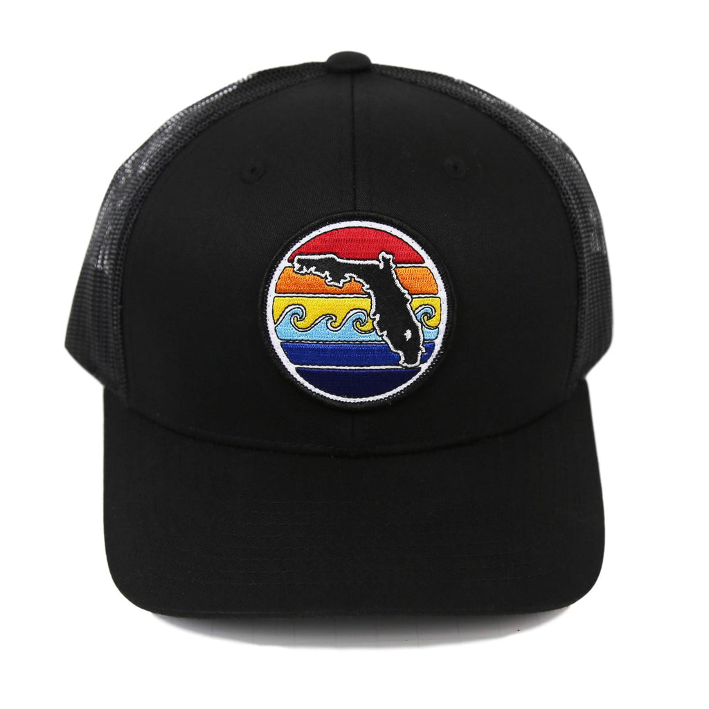 FLORIDA SUNSET YUPOONG TRUCKER HAT - ALL BLACK - Sunshine State®