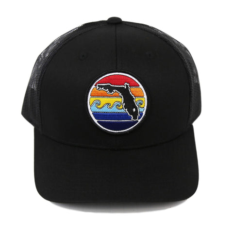 FLORIDA SUNSET YUPOONG TRUCKER HAT - ALL BLACK - Sunshine State® Goods