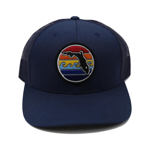 FLORIDA SUNSET YUPOONG TRUCKER HAT - ALL NAVY - Sunshine State® Goods