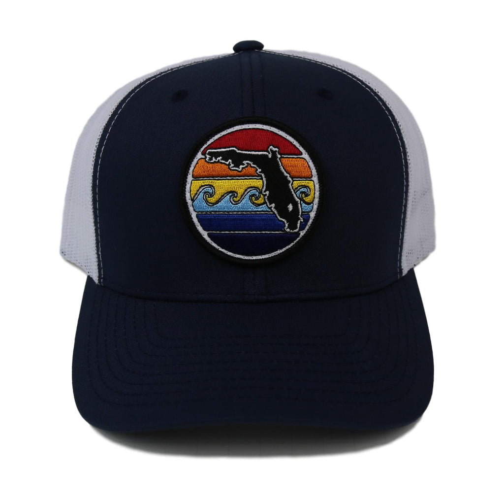FLORIDA SUNSET YUPOONG TRUCKER HAT - NAVY
