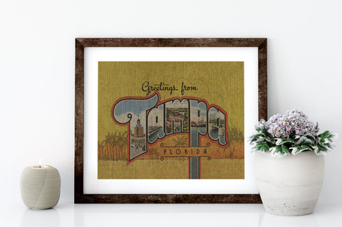 GREETINGS FROM TAMPA - 8x10 LINEN PRINT - Sunshine State® Goods