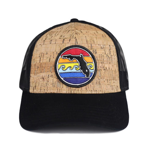 FLORIDA SUNSET 6 PANEL TRUCKER - CORK - Sunshine State® Goods