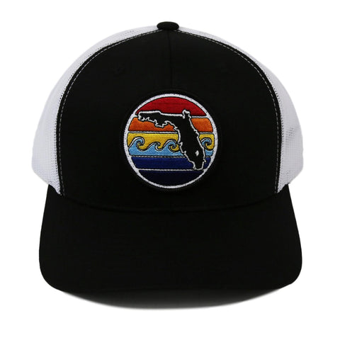 FLORIDA SUNSET YUPOONG TRUCKER HAT - BLACK - Sunshine State® Goods