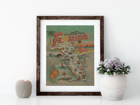 "GREETINGS FROM FLORIDA - 8x10"" LINEN PRINT - Sunshine State® Goods"