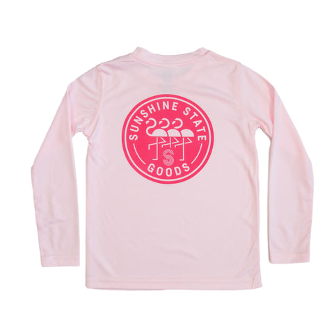 FLAMINGO BADGE TODDLER SOLAR SHIRT-PINK - Sunshine State® Goods