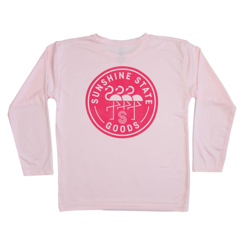 FLAMNGO BADGE YOUTH SOLAR SHIRT-PINK - Sunshine State® Goods
