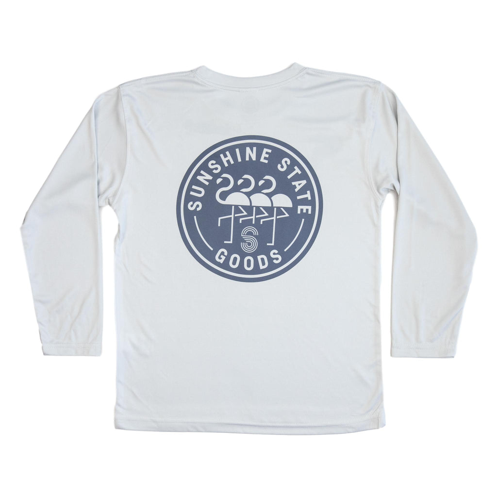 FLAMINGO BADGE YOUTH SOLAR SHIRT-GREY - Sunshine State® Goods