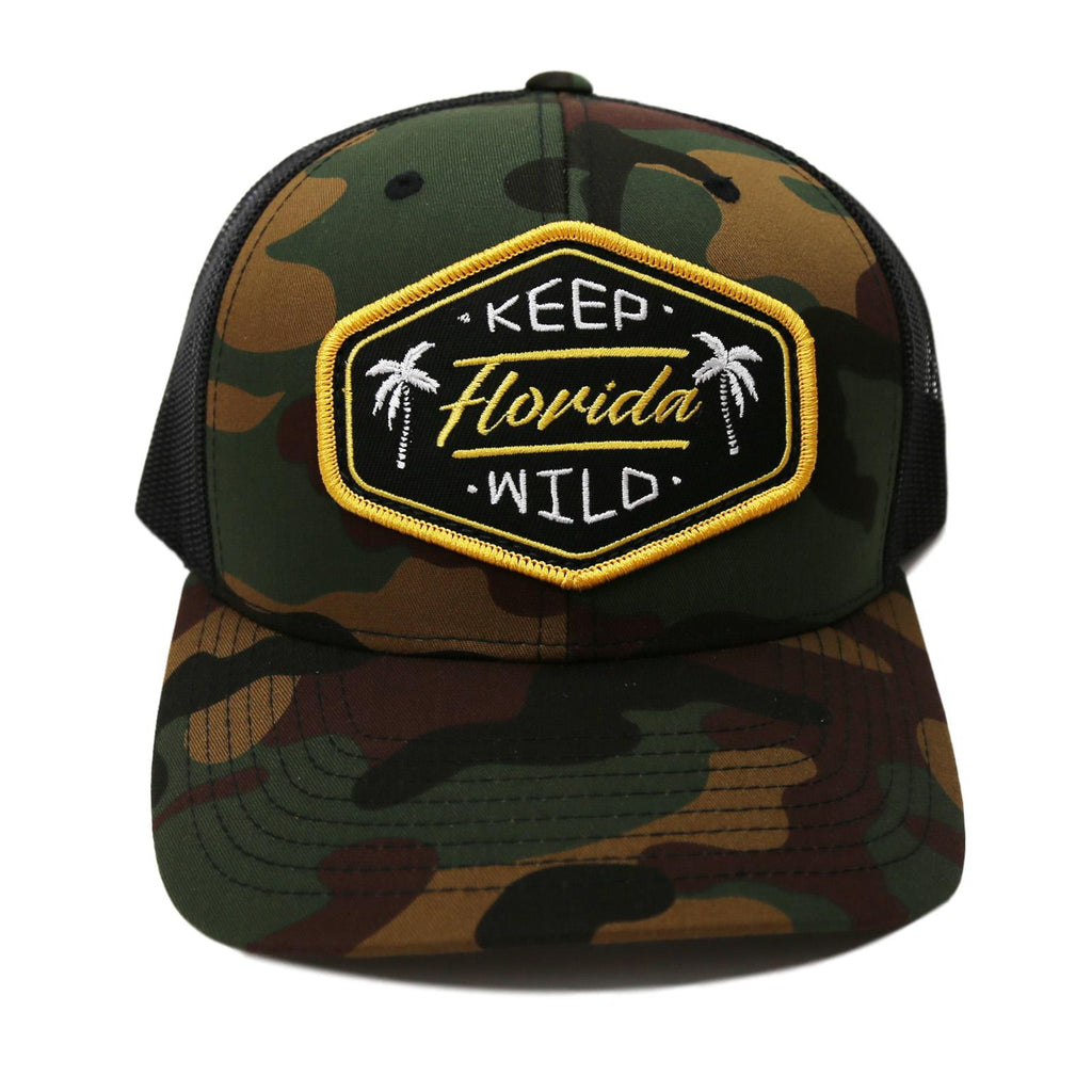 KEEP FL WILD YUPOONG TRUCKER HAT - CAMO - Sunshine State® Goods