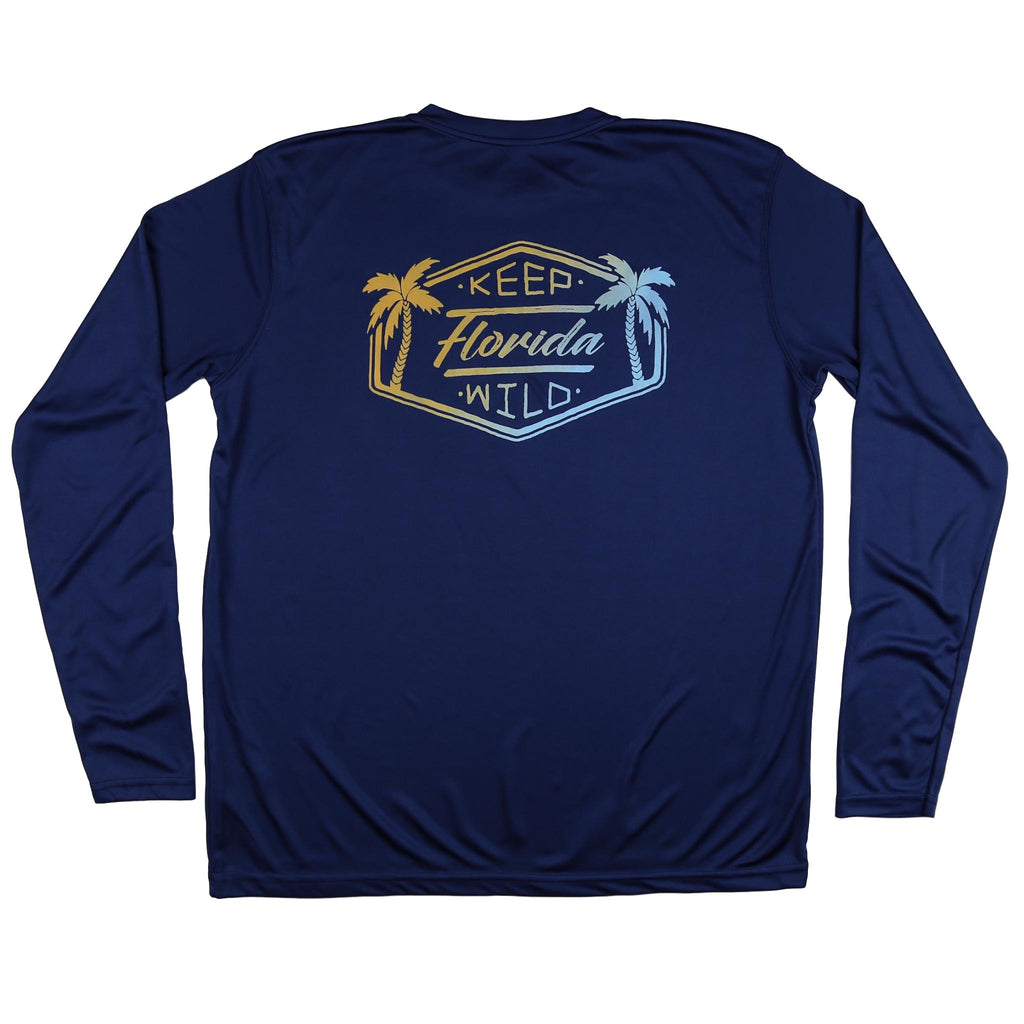 KEEP FLORIDA WILD MENS SOLAR SHIRT - NAVY - Sunshine State® Goods
