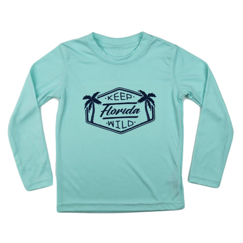 KEEP FLORIDA WILD TODDLER SOLAR SHIRT - SEAFOAM