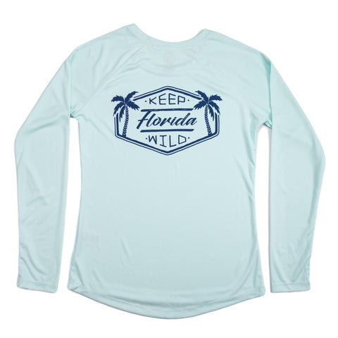 KEEP FLORIDA WILD LONG SLEEVE LADIES SOLAR SHIRT - SEAFOAM - Sunshine State® Goods