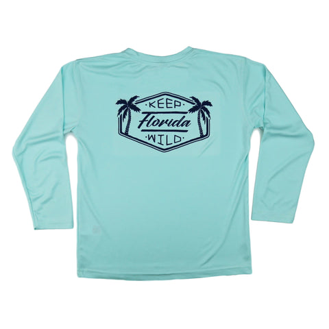 KEEP FLORIDA WILD YOUTH SOLAR SHIRT - SEAFOAM