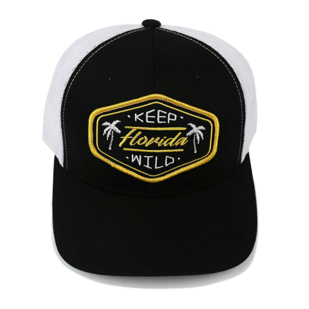 KEEP FL WILD YUPOONG TRUCKER HAT - BLACK - Sunshine State® Goods