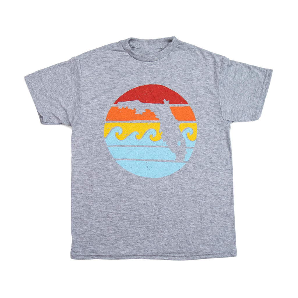 RETRO SUNSET YOUTH DRI TEE - GREY - Sunshine State® Goods