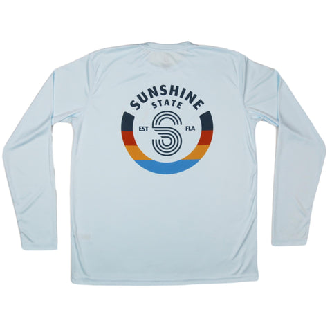 S BADGE LONG SLEEVE MENS SOLAR SHIRT - ICE BLUE