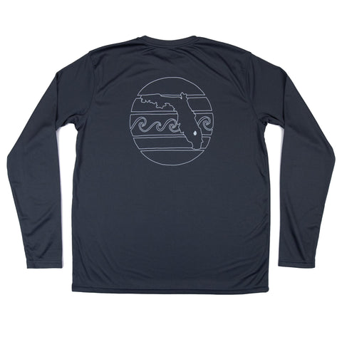 RETRO SUNSET OUTLINE LONG SLEEVE MENS SOLAR SHIRT- METAL - Sunshine State® Goods