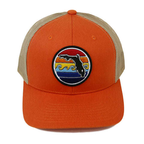 FLORIDA SUNSET YUPOONG TRUCKER HAT - ORANGE - Sunshine State®