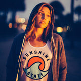 FLORIDA SUNSET UNISEX FLEECE DRAWSTRING HOODIE - GREY - Sunshine State® Goods