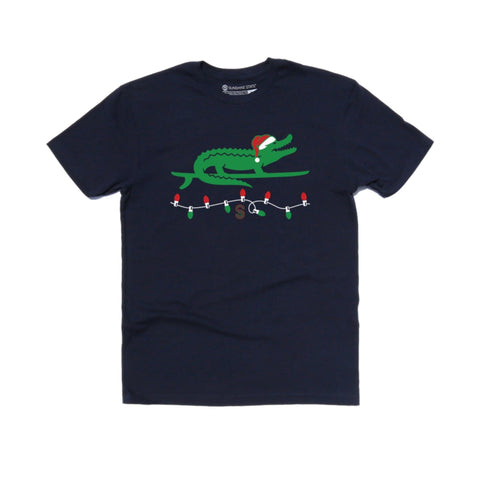 SURFING SANTA GATOR TODDLER & YOUTH TEE - NAVY