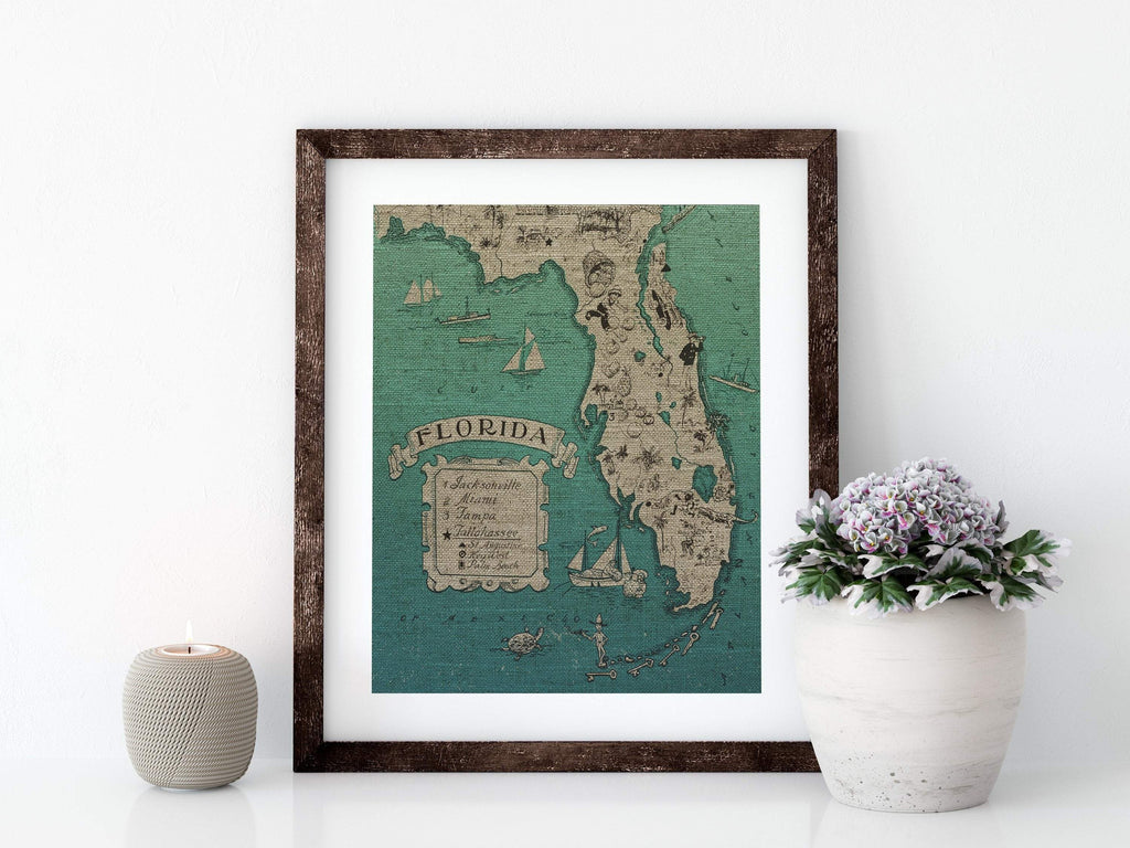 VERTICAL VINTAGE FLORIDA MAP - 8x10 LINEN PRINT