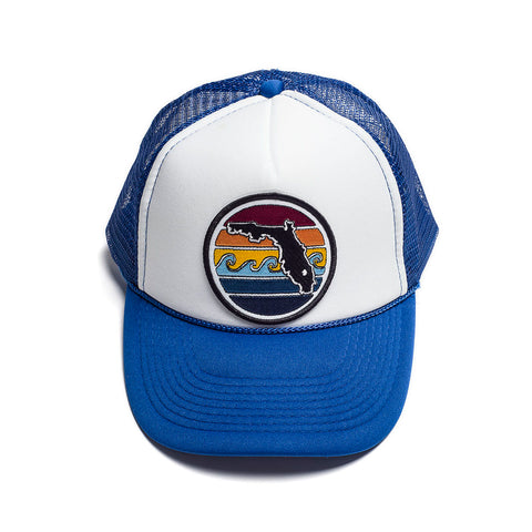 YOUTH FLORIDA SUNSET TRUCKER - ROYAL - Sunshine State® Goods