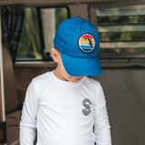 YOUTH FLORIDA SUNSET UNSTRUCTURED HAT - ROYAL - Sunshine State® Goods