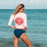 FLAMINGO BADGE LONG SLEEVE LADIES SOLAR SHIRT - PINK - Sunshine State® Goods