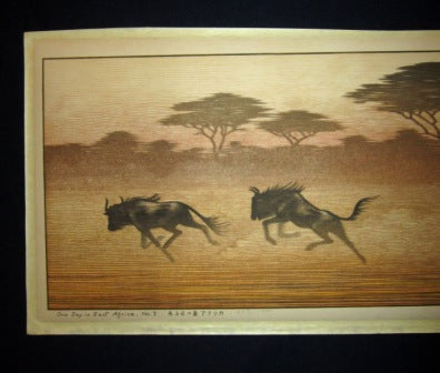 Huge Original Japanese Woodblock Print Toshi Yoshida PENCIL Sign LIMIT# One Day in East Africa